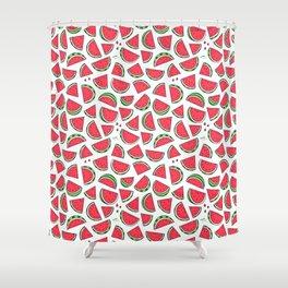Watermelon World! Kawaii Watermelon Doodle Shower Curtain
