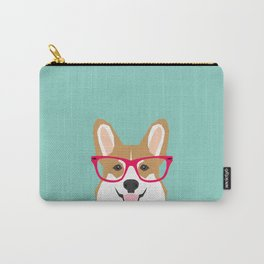 Teagan Glasses Corgi cute puppy welsh corgi gifts for dog lovers and pet owners love corgi puppies Carry-All Pouch