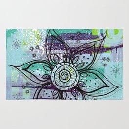 Teal Flower Rug
