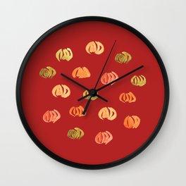 Pumpkins on Firebrick Wall Clock