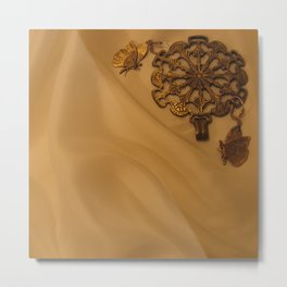 Bronze Butterfly Medallion Metal Print