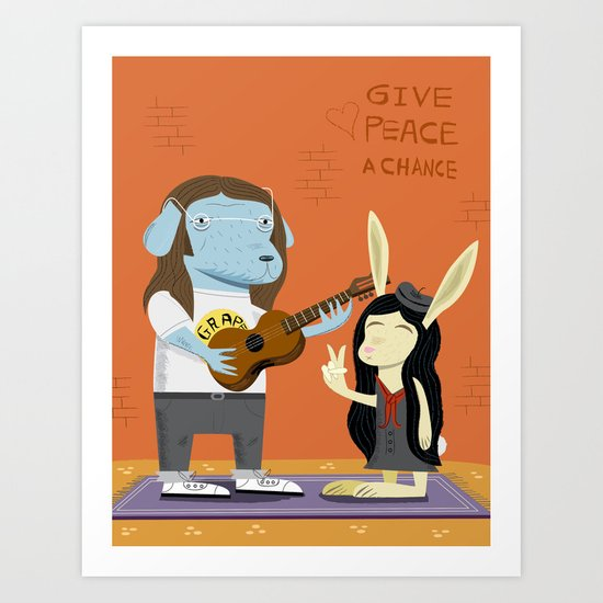Lennon Dog and Yoko Bunny Art Print