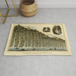 Vintage Print - A Comparative View of the Lengths of the Principal Rivers of Scotland (1822) Rug