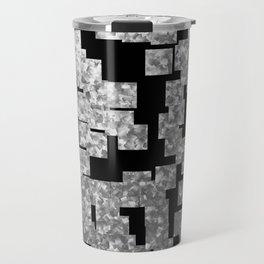 Silver checks on dark underground Travel Mug