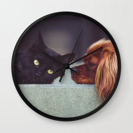 CAT - DOG - LYING - DOWN - ANIMALS - FRIENDS - PHOTOGRAPHY Wall Clock