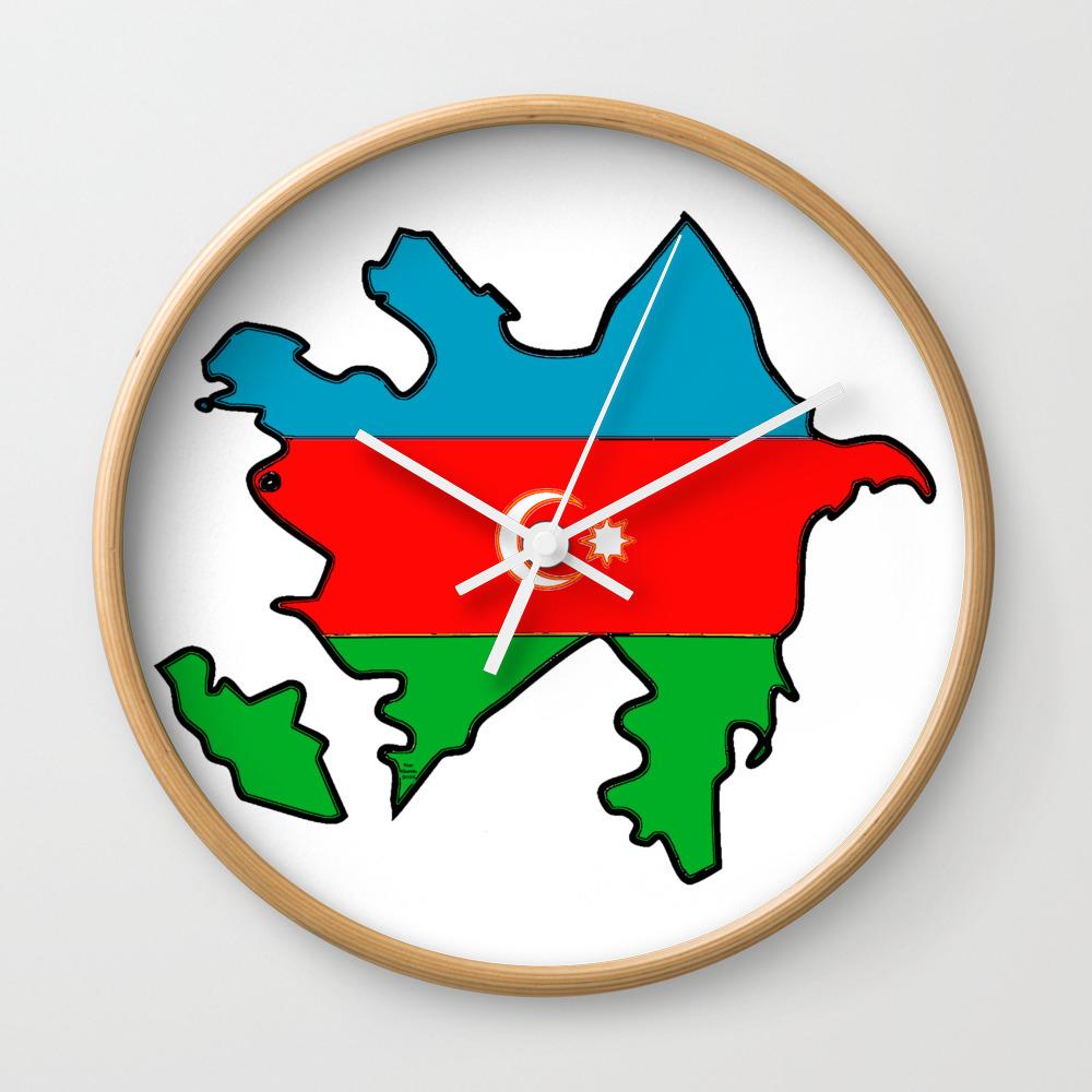 Azerbaijan Map With Azeri Azerbaijani Flag Wall Clock By Havocgirl Society6