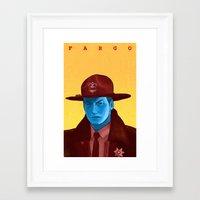 fargo Framed Art Prints featuring Fargo by Drew Crowley