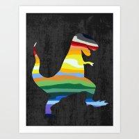 trex Art Prints featuring Rainbow Trex by Precious Beast