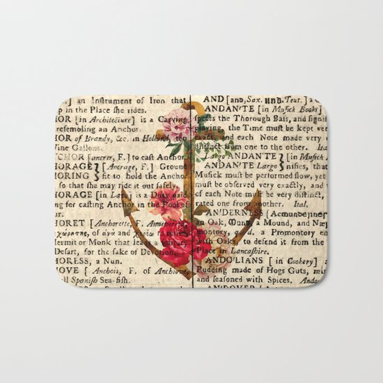 Vintage Anchor with Flowers Dictionary Art Bath Mat