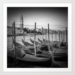 VENICE Grand Canal and St Mark's Campanile | Monochrome Art Print