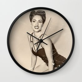 """Modern Swim-wear"" - The Playful Pinup - Vintage Weathered Pinup Girl by Maxwell H. Johnson Wall Clock"