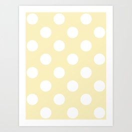 Large Polka Dots - White on Blond Yellow Art Print