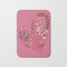 Vintage with a Smile - Pink Vintage Buttons Bath Mat