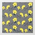 Yellow Flowers on Gray/Grey background, floral pattern by zeldashafferdesigns