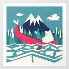 Yeti and bunny going on an adventure Art Print