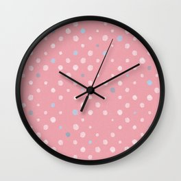 LOTS OF DOTS / tender pink / pale pink light / pale blue light Wall Clock