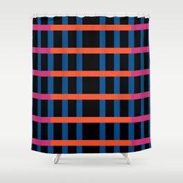 Retro Night Stripes Grid Shower Curtain