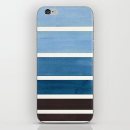 Navy Blue Minimalist Mid Century Modern Color Fields Ombre Watercolor Staggered Squares iPhone Skin
