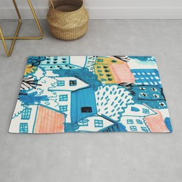 city in the woods Rug