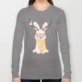 White rabbit Christmas pattern 001 Long Sleeve T-shirt