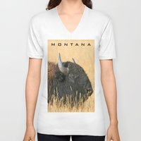 montana V-neck T-shirts featuring Montana Bison by David Todd