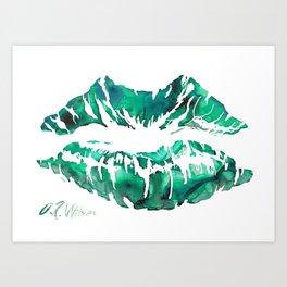 Green Lipstick Print Art Print