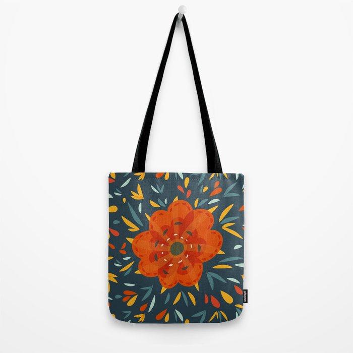 Decorative Whimsical Orange Flower Tote Bag