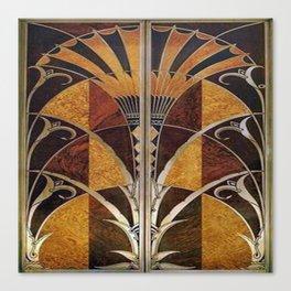 Art nouveau,Original wood work, elevator door, NYC Building Canvas Print