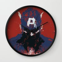 captain Wall Clocks featuring The Captain by Purple Cactus
