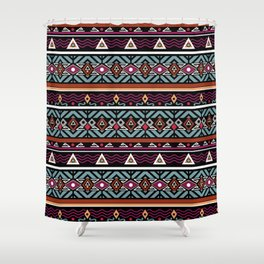Ethnic ornament ,Black background Shower Curtain