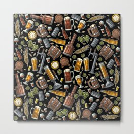 Beer Makes The World Go Round - Black Pattern Metal Print