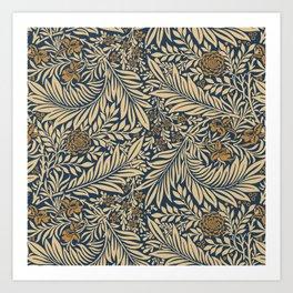 Blue Vintage Floral Pattern Art Print