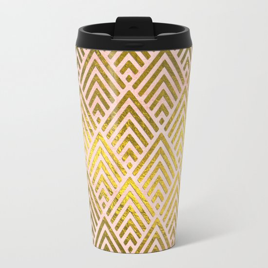 Gold foil triangles on pink - Elegant and luxury triangle pattern Metal Travel Mug