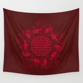 Five Bats with Shou and Clouds Wall Tapestry