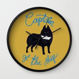 Captain Schipperke (Yellow and Blue) Wall Clock