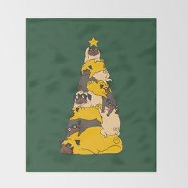 Christmas Tree Pugs Throw Blanket