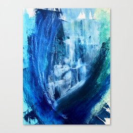 Cerulean [5]: a vibrant blue abstract with texture and layers Canvas Print