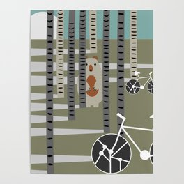 Biking in the woods Poster
