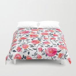 Roses on White - a watercolor floral pattern Duvet Cover