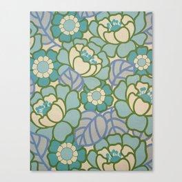 BLUE FLORAL SEVENTIES Canvas Print