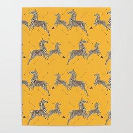 Royal Tenenbaums Zebra Wallpaper - Mustard Yellow Poster