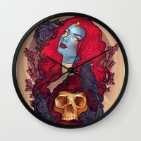 raven Wall Clocks featuring Raven by Megan Lara