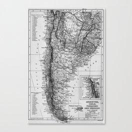 Vintage Map of Argentina (1911) Canvas Print