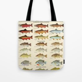 Illustrated Eastern Game Fish Identification Chart Tote Bag