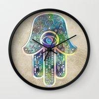 hamsa Wall Clocks featuring Hamsa by Klara Acel