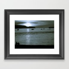 watching the sun set Framed Art Print