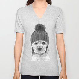 Black and White Cocker Spaniel Unisex V-Neck