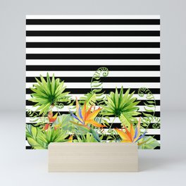 Tropical Chic Florals And BW Stripes Mini Art Print