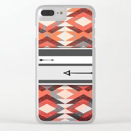 270 Coral Bohemian and Arrows Clear iPhone Case