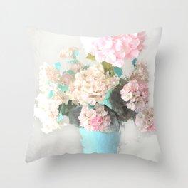 Shabby Chic Hydrangea Flowers Pink White Aqua Blue Throw Pillow